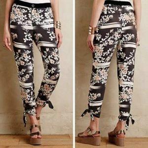 Anthropologie Elevenses floral joggers dress pants